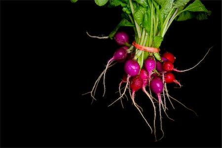 bundle of fresh local organic radishes on black background, jeffersonville, georgia Stock Photo - Rights-Managed, Code: 700-06809012
