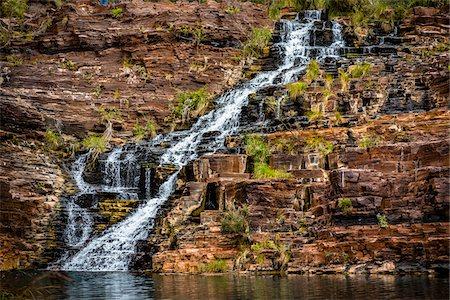 rugged landscape - Fortescue Falls, Dales Gorge, Karijini National Park, The Pilbara, Western Australia, Australia Stock Photo - Rights-Managed, Code: 700-06809051