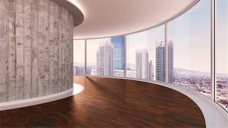 3d-illustration of a round room in urban city Stock Photo - Rights-Managed, Code: 700-06841594