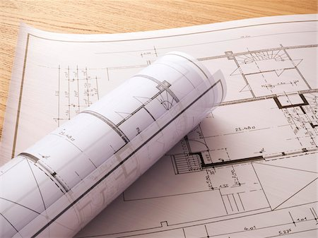 draw - 3d-illustration of a construction plans Stock Photo - Rights-Managed, Code: 700-06841593