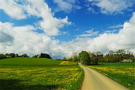 scenic and spring (season) - Road through rural scene in spring, Vogtland, Saxony, Germany, Europe Stock Photo - Rights-Managed, Code: 700-06894759