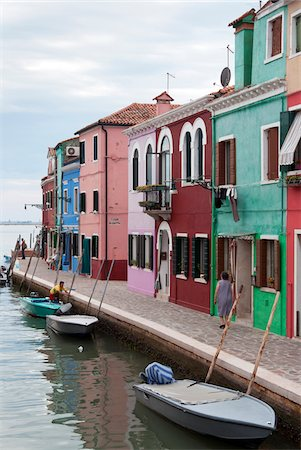 quaint house - Houses on the waterfront, Burano, Venice, Veneto, Italy, Europe Stock Photo - Rights-Managed, Code: 700-06895061
