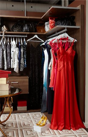 Close up of women's closet fully stocked with clothes, shoes and accessories Stock Photo - Rights-Managed, Code: 700-06895097