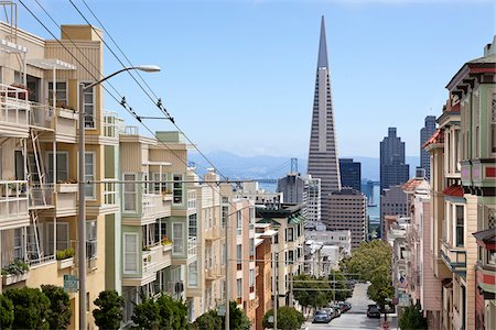 View of Transamerica Building and City Street from Nob Hill (Clay St.), San Francisco, California, USA Stock Photo - Rights-Managed, Code: 700-06899697