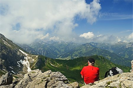 Mountaineer Enjoying View on Kanzelwand, Kleinwalsertal, Austria Stock Photo - Rights-Managed, Code: 700-06892806