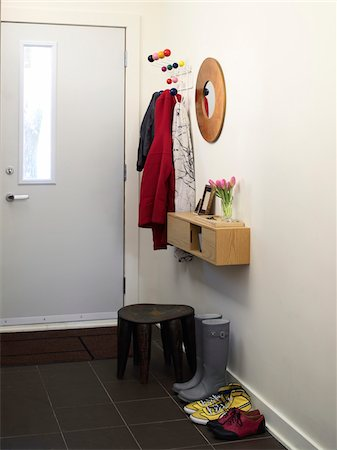 decorations - House front entrance way, with jackets, boots and footstool, Ontario, Canada Stock Photo - Rights-Managed, Code: 700-06935035