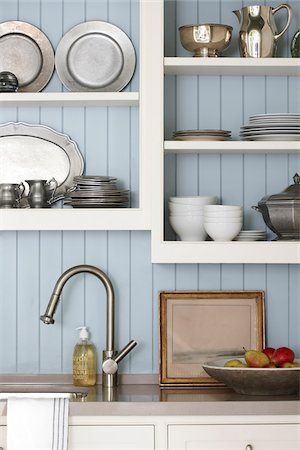 Interior detail of kitchen open cabinetry and sink taps, Ontario, Canada Stock Photo - Rights-Managed, Code: 700-06935033