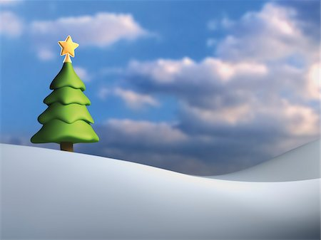 snow christmas tree white - Illustration of Christmas tree against cloudy, blue sky, on snowy hill Stock Photo - Rights-Managed, Code: 700-06936116