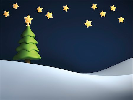 Illustration of Christmas tree against starry, night sky, on snowy hill Stock Photo - Rights-Managed, Code: 700-06936118
