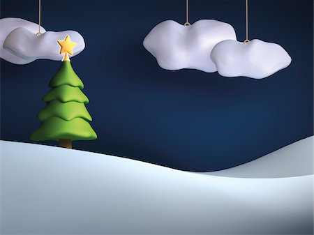 Illustration of Christmas tree on snowy hill with hanging clouds in sky Stock Photo - Rights-Managed, Code: 700-06936119