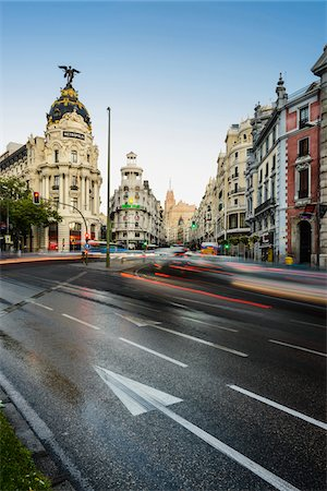 Europe, Spain, Comunidad de Madrid, Madrid, view of Gran Via with the Metropolis building, Grassy building and Telefonica building in the background Stock Photo - Rights-Managed, Code: 700-06943744