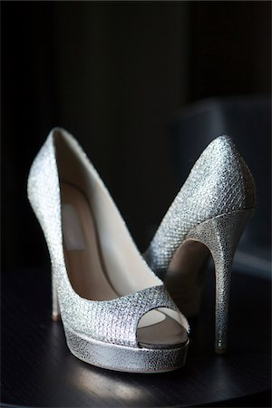 Close-up of silver dress shoes, studio shot on black background Stock Photo - Rights-Managed, Code: 700-06961000