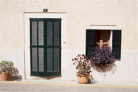 quaint house - House entrance and window, Sineu, Majorca, Spain Stock Photo - Rights-Managed, Code: 700-06961792