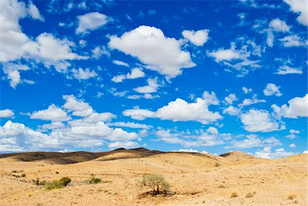 Namib desert with white, puffy cloud filled sky, Namibia, Africa Stock Photo - Rights-Managed, Code: 700-06961897