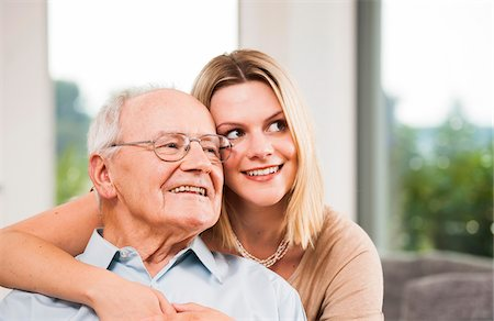Portrait of Young Woman and Senior Man, Mannheim, Baden-Wurttemberg, Germany Stock Photo - Rights-Managed, Code: 700-06962197