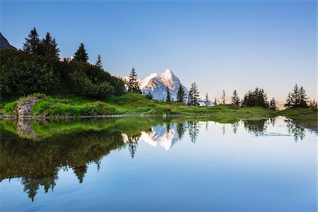 Reflection of Eiger Peak in an Alpine Lake at Sunrise, Bernese Alps, Grosse Scheidegg, Canton of Bern, Switzerland Stock Photo - Rights-Managed, Code: 700-07026607
