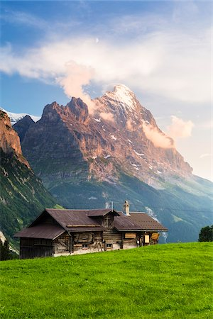 Farm Building in Alpine Meadow Mount Eiger in the distance at Sunset, Grosse Scheidegg, Bernese Alps, Canton of Bern, Switzerland Stock Photo - Rights-Managed, Code: 700-07026619