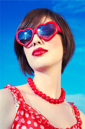 Portrait of youn woman in retro clothing, Italy Stock Photo - Rights-Managed, Code: 700-07066936