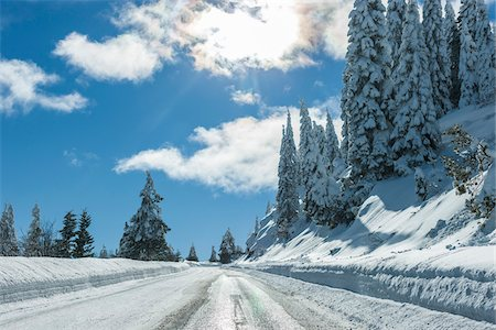 Snowy Road up Mount Ashland, Southern Oregon, USA Stock Photo - Rights-Managed, Code: 700-07067232