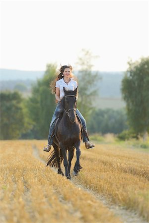 Young Woman Riding a Friesian Horse through threshed Cornfield, Bavaria, Germany Stock Photo - Rights-Managed, Code: 700-07067520