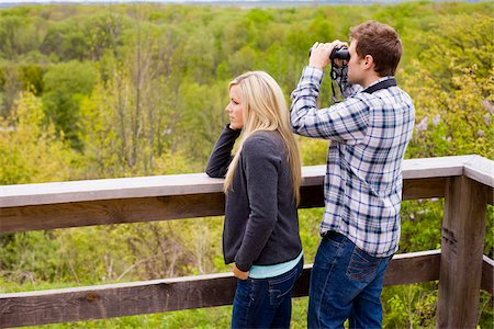 platform - Young Couple using Binoculars on Lookout, Scanlon Creek Conservation Area, Bradford, Ontario, Canada Stock Photo - Rights-Managed, Code: 700-07117262
