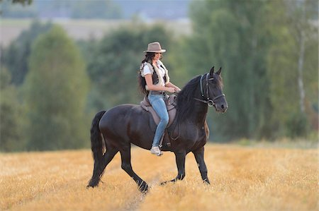 Young Woman Riding Friesian Horse on threshed Cornfield, Bavaria, Germany Stock Photo - Rights-Managed, Code: 700-07110698