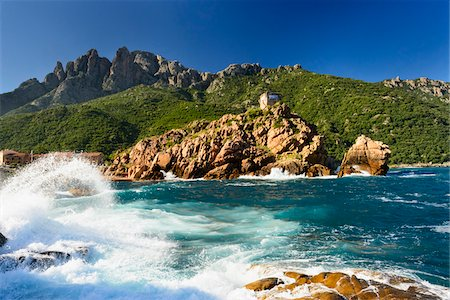 rugged landscape - Scenic view of ocean and coastline with Genoese Watchtower, Gulf of Porto, Corsica, France Stock Photo - Rights-Managed, Code: 700-07148241