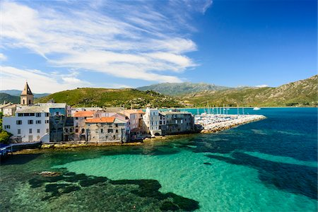 Scenic view of the old town and port, Nebbio, Saint-Florent, Corsica, France Stock Photo - Rights-Managed, Code: 700-07148251