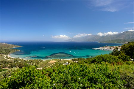 Scenic view of the old town and port, Nebbio, Saint-Florent, Gulf of Saint-Florent, Corsica, France Stock Photo - Rights-Managed, Code: 700-07148252