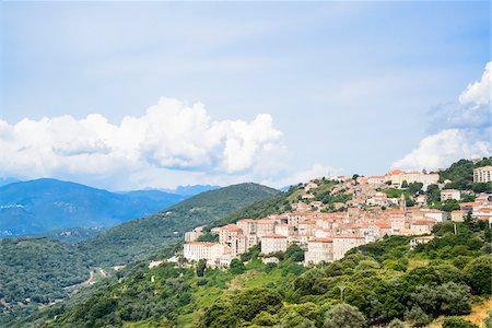 european hillside town - Scenic view of the town's historical center, Sartene, Corsica, France Stock Photo - Rights-Managed, Code: 700-07148253