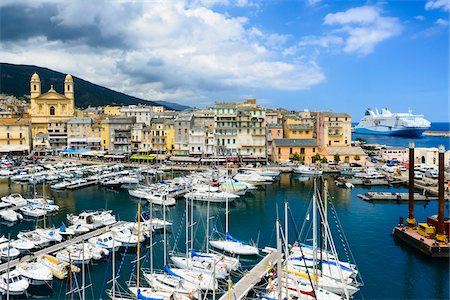 Scenic view of marina, Old Port (Vieux Port), Saint Jean Baptist Church and harbour area of Old Town of Basita, view from the Citadel, Bastia, Corsica, France Stock Photo - Rights-Managed, Code: 700-07148266