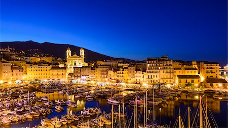 Old Port (Vieux Port), Saint Jean Baptist Church and harbour area of Old Town of Basita at night, view from the Citadel, Bastia, Corsica, France Stock Photo - Rights-Managed, Code: 700-07148267