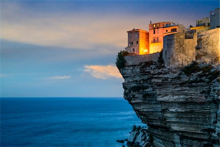 View of the Citadel and cliffs at sunset, from Saint Roch Hill, Bonifacio, Corsica, France Stock Photo - Rights-Managed, Code: 700-07148269