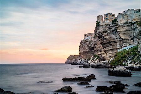 scenic view - Scenic view of the rocky coastline, Citadel and cliffs at sunset, Bonifacio, Corsica, France Stock Photo - Rights-Managed, Code: 700-07148277