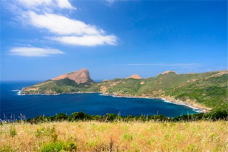 Scenic view of Capu Rossu (Red cape) Gulf of Porto, Corsica, France Stock Photo - Rights-Managed, Code: 700-07148295