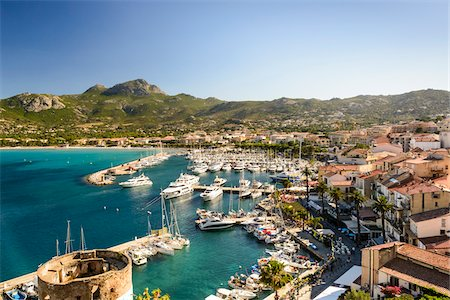 Scenic view of the port of Calvi from the Citadel, Calvi, Balagne, Corsica, France Stock Photo - Rights-Managed, Code: 700-07148291