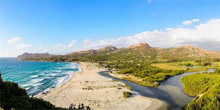 france - Scenic view of Ostriconi Beach and the mouth of the Ostriconi River, Agriates, Corsica, France Stock Photo - Rights-Managed, Code: 700-07148300