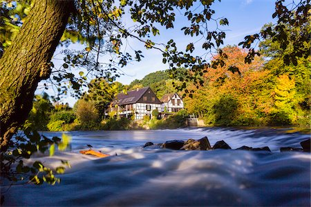 Old Half Timbered House by River Wupper in Autumn, Solingen, North Rhine-Westphalia, Germany Stock Photo - Rights-Managed, Code: 700-07143726