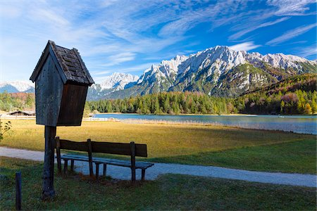 Birdhouse and Bench by Lautersee and Karwendel Mountains in Autumn, Oberbayern, Bavaria, Germany Stock Photo - Rights-Managed, Code: 700-07143729