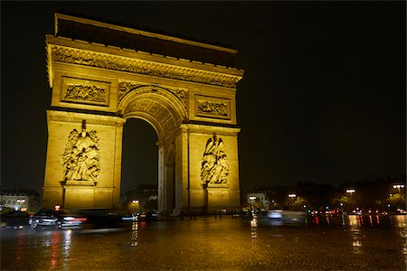 Arc de Triomphe at night, Paris, France Stock Photo - Rights-Managed, Code: 700-07165054