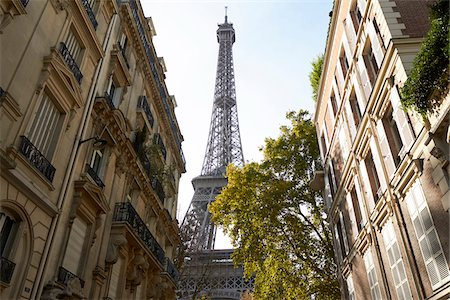 Eiffel Tower framed by buildings, Paris, France Stock Photo - Rights-Managed, Code: 700-07165056