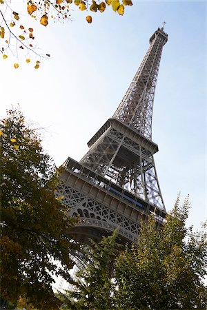 Low angle view of Eiffel Tower against blue sky, Paris, France Stock Photo - Rights-Managed, Code: 700-07165057