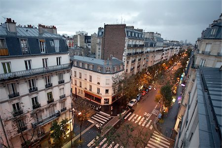 High angle view of Montmartre, street scene at dawn, Paris, France Stock Photo - Rights-Managed, Code: 700-07165053