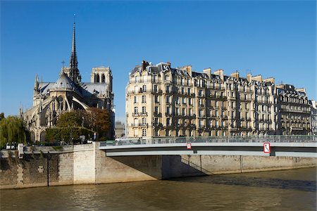 Apartment Buildings and Notre Dame Cathedral, Paris, France Stock Photo - Rights-Managed, Code: 700-07165061