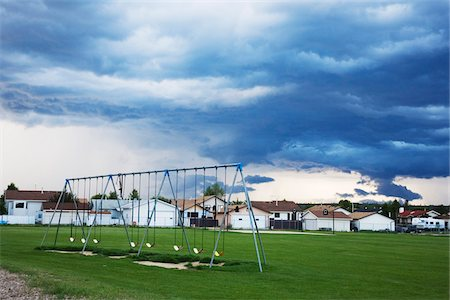 empty - Park Swings and Storm Clouds, Whitcourt, Alberta, Canada Photographie de stock - Rights-Managed, Code: 700-07199682