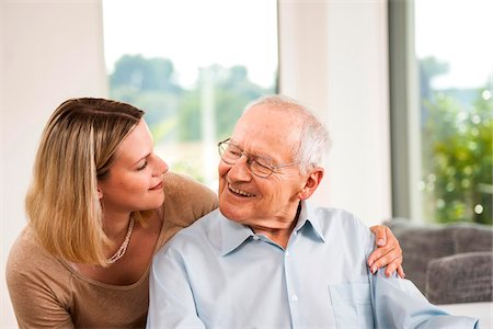 Portrait of Young Woman and Senior Man, Mannheim, Baden-Wurttemberg, Germany Stock Photo - Rights-Managed, Code: 700-07192186