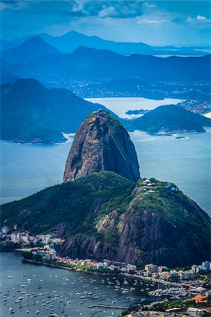 sailboat  ocean - View from Corcovado Mountain of Sugarloaf Mountain, Rio de Janeiro, Brazil Stock Photo - Rights-Managed, Code: 700-07204105