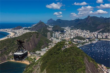Cablecar ascending Sugarloaf Mountain (Pao de Acucar), Rio de Janeiro, Brazil Photographie de stock - Rights-Managed, Code: 700-07204237