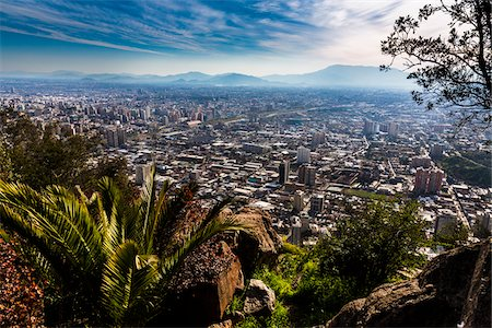 Overview of Santiago from Cerro San Cristobal, Bellavista District, Santiago, Chile Stock Photo - Rights-Managed, Code: 700-07237687