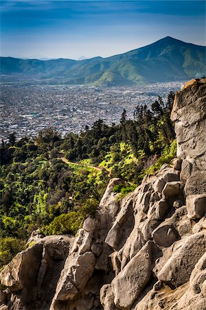 Overview of Santiago from Cerro San Cristobal, Bellavista District, Santiago, Chile Stock Photo - Rights-Managed, Code: 700-07237693